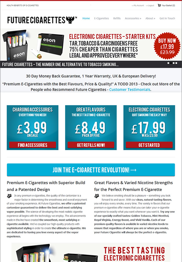 Future Cigarettes (SEO, Copywriting & Design)